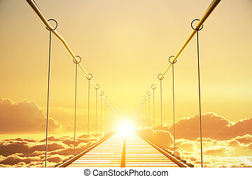 Wooden bridge in the clouds going to sunset, concept