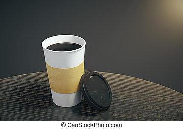 White paper cup of coffee on the wooden table, mock up