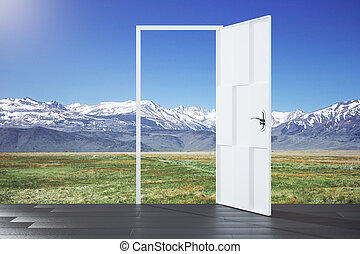 Open door in a nature, concept