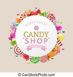 Candy Background With Gradient Mesh, Vector Illustration