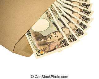 Japanese Yen banknotes on white background