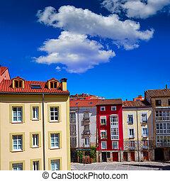 Burgos downtown colorful facades in Castilla Spain - Burgos...