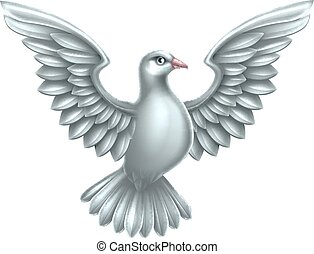 White Dove Concept - A white dove, a symbol of peace, faith...
