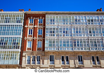 Burgos facades in Cathedral square Castilla Spain
