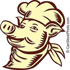 Pig Chef Cook Head Looking Up Woodcut - Illustration of a...