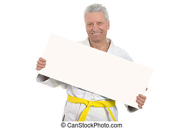 Karate Senior man with poster - Karate Senior man with white...