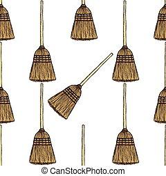 Sketch broom in vintage style
