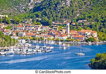 Town of Skradin waterfront view, Dalmatia, Croatia