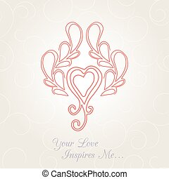 Vector vintage card with floral ornament design...