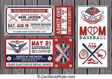 Baseball labels  - Set of vintage baseball labels and badges