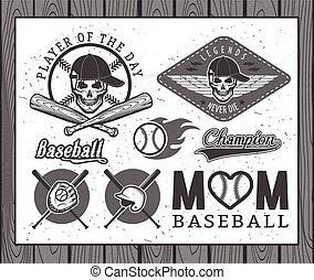 Baseball labels and badges - Set of vintage baseball labels...