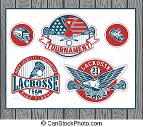 Set of vintage lacrosse labels and badges. Vectr...