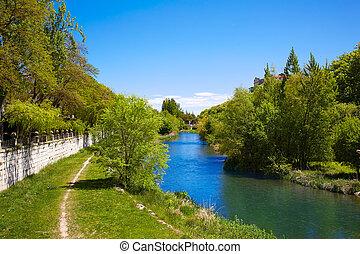 Burgos Arlanzon river in Castilla Leon Spain - Burgos...