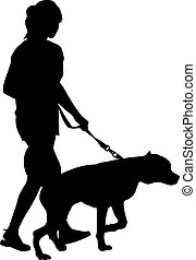 Silhouette of people and dog. Vector