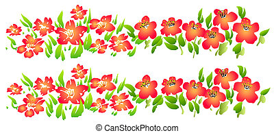 wild flower - drawing of red wildflowers in a white...