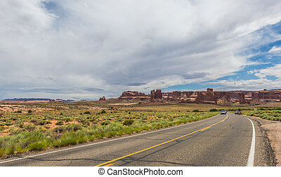Arches National Park Panoramic road - Arches National Park...