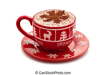 Hot chocolate for Christmas day. - Christmas decorated cup...