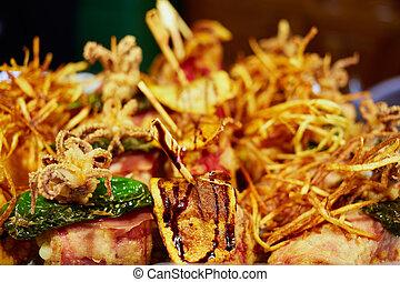 Burgos tapas food detail in Castilla of Spain - Burgos tapas...
