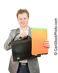 Businessman holding a poster
