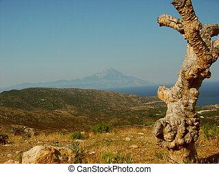 Athos - Greece, view at the big mountain Athos