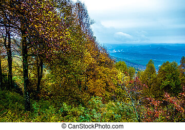 driving through blue ridge mountains national park - driving...