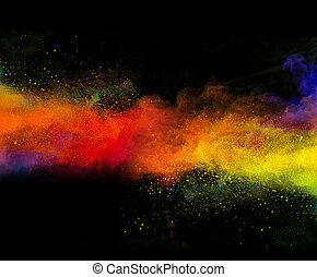 Launched colorful powder on black background - Launched...