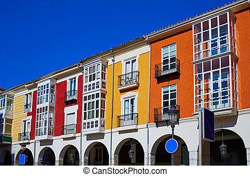 Burgos Street Santander arcades in Castilla Leon of Spain -...
