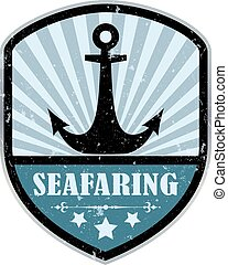 Seafaring retro label isolated on white background