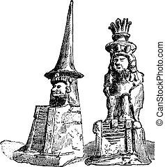 vendimia,  huitzilopochtli,  quetzalcoatl, Grabado