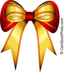 Bright gold and red gift bow isolated over white background...