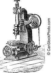 Slotting machine, vintage engraving.