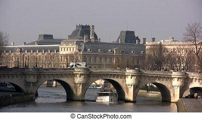 Bridge over Seine River, Paris - View in a sunny day