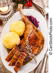 Christmas goose - Crusty Christmas goose leg with braised...