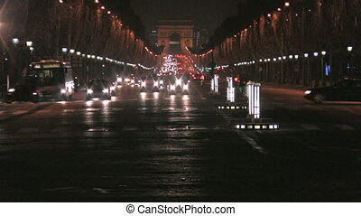 Champs Elyse by night, Paris - View from Place de la...
