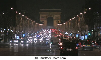 Champs Elysee by night, Paris - View from Place de la...