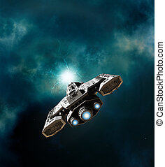 Spaceship Entering a Wormhole - Science fiction illustration...