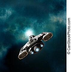 Nave espacial, Entrar, Un, Wormhole,