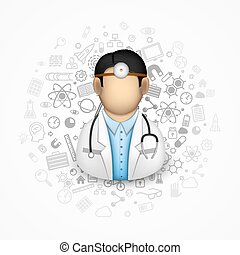 Doctor many icons on the background