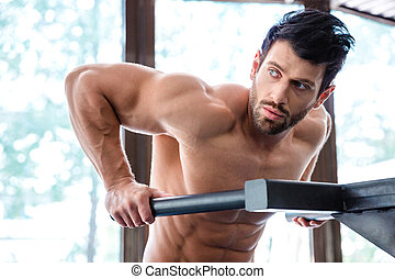 Male bodybuilder workout on parallel bars - Portrait of a...