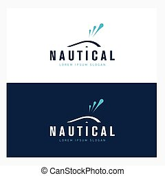 Whale logo design template with abstract water fountain. Sea company badge concept