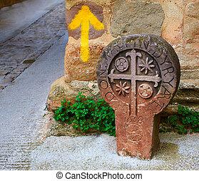 The way of Saint james yellow arrow sign Pamplona - The way...