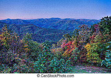 driving through  blue ridge mountains national park