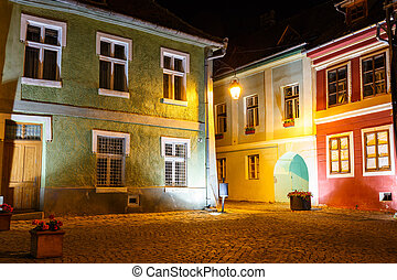 historical center of Sighisoara at night