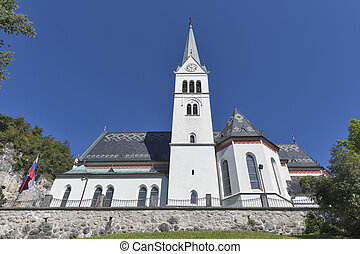 Neo Gothic Church of Saint Martin at Bled lake, Slovenia -...