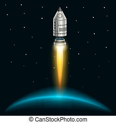Space rocket launch creative art. Vector illustration