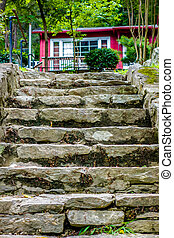 stone steps leading to a mountain vacation home