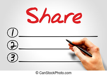 Share blank list, business concept