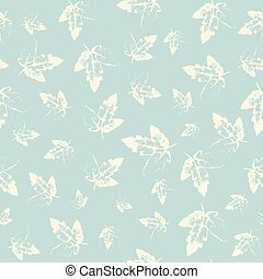 Pattern with leaves in pastel on cold background