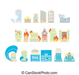 Disaster icon collection. Destruction of buildings set of icons. Earthquake Fault skyscrapers. Fire in the business center. Flooding of plant houses, flats. Flooding and tsunamis. Demolition of urban structures and elements of city.