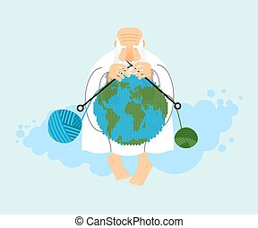 God sitting on cloud and knit planet Earth. Creation of  Earth. An elderly man with beard in white clothes. Knitting balls of wool. Religious illustration. World creator